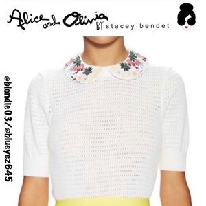 Alice+Olivia Remmie embroidered collar sweater XS